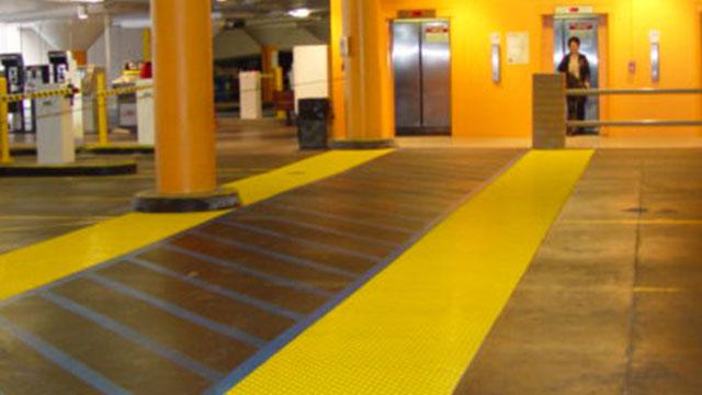 ADA Tiles installed in underground Parking Lot