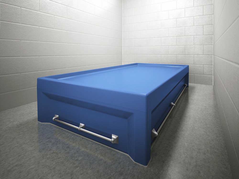 multi point restraint bed blue
